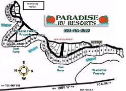Lake Fork's Paradise Forest RV Lot Layout